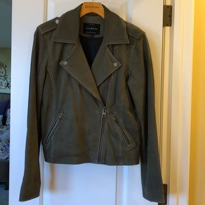 Lucky Brand Leather Moto Jacket- olive color
